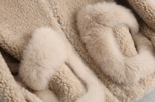 Women's Shearling and Fox Fur Hooded Teddy Coat