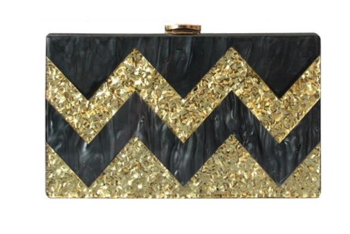 Black and Gold Glitter Zig Zag Acrylic Clutch/Bag