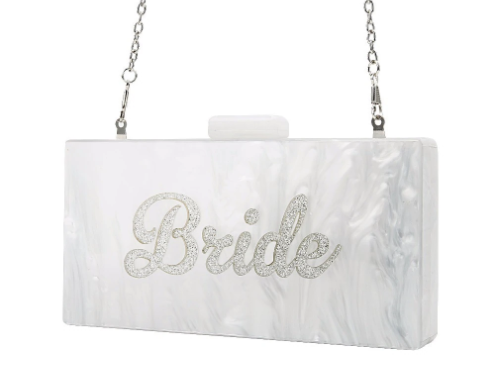 White Pearlized Bride Acrylic Clutch/Bag