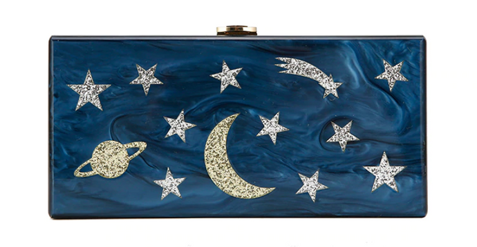 Moon and Stars Blue Acrylic Clutch/Bag