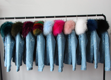 Distressed Denim Jacket with Light Pink Fur Collar and Lining