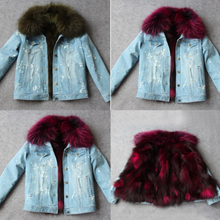 Distressed Denim Jacket with Maroon Fur Lining and Collar
