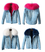 Distressed Denim Jacket with White Fur Lining and Collar
