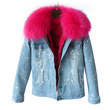 Distressed Denim Jacket with Hot Pink Fur Lining and Collar