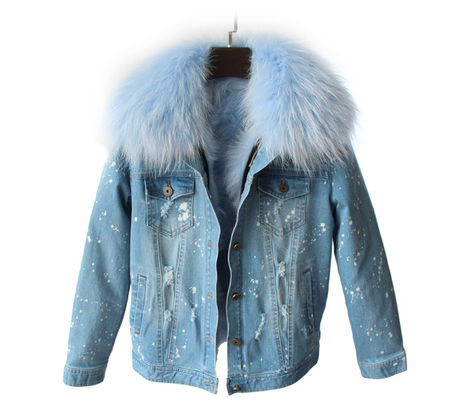 45e7cfe1e6a8 Distressed Denim Jacket with Light Blue Fur Collar and Lining ...
