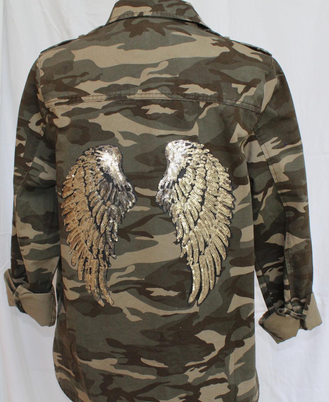 Camouflage Jacket with Large Sequin Wings