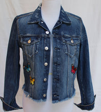 Custom Denim Jacket with Rainbow of Butterflies