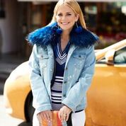 Distressed Denim Jacket with Light Blue Fur Collar and Lining