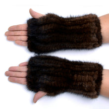Genuine Mink Fur Fingerless Gloves