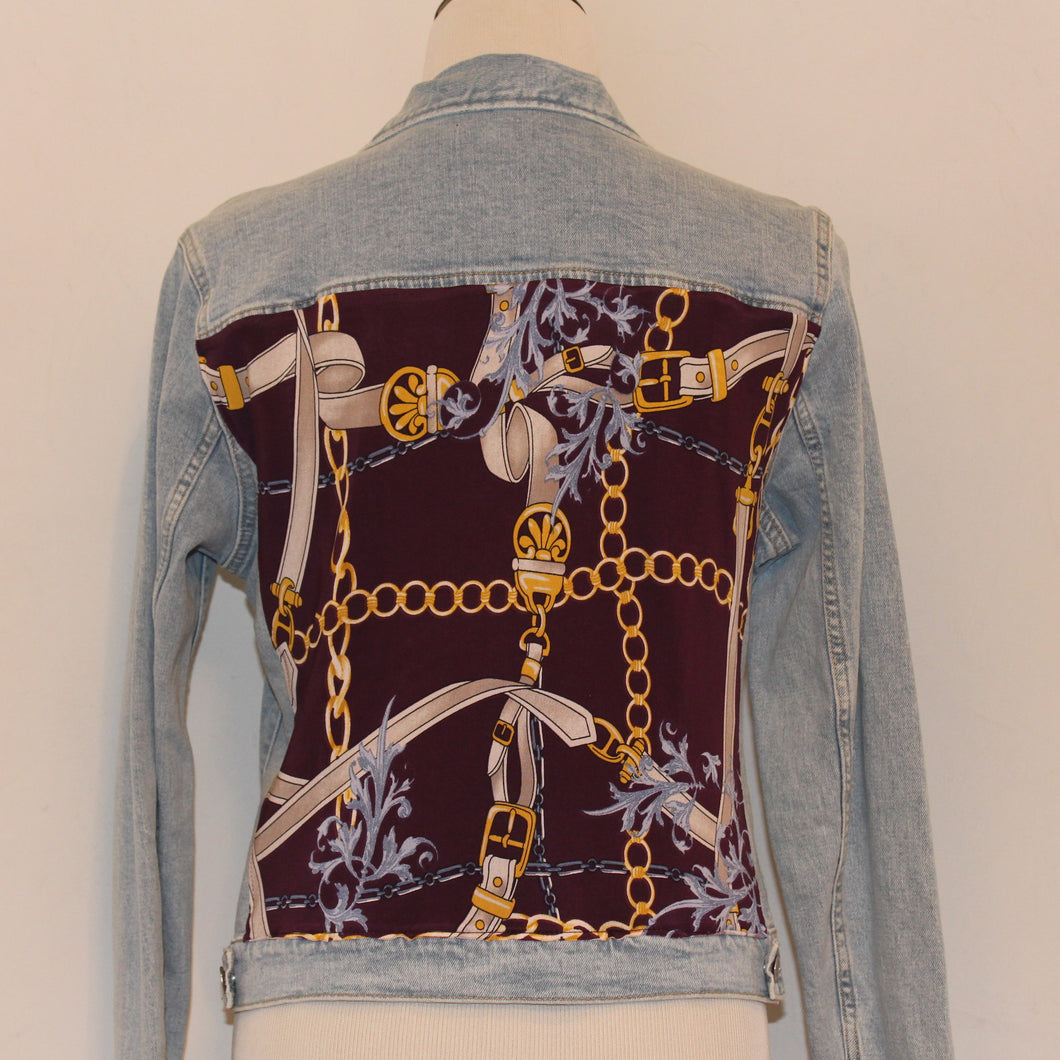Light Denim Jacket with Chain Scarf