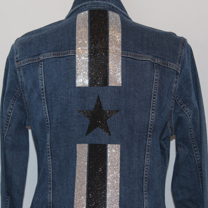 Blue Denim Jacket with Glitter Stripes and Star