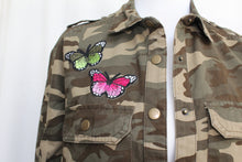Camouflage Jacket with Butterflies