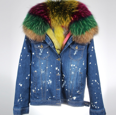 Distressed Dark Denim Jacket with Rainbow Fur Lining and Collar