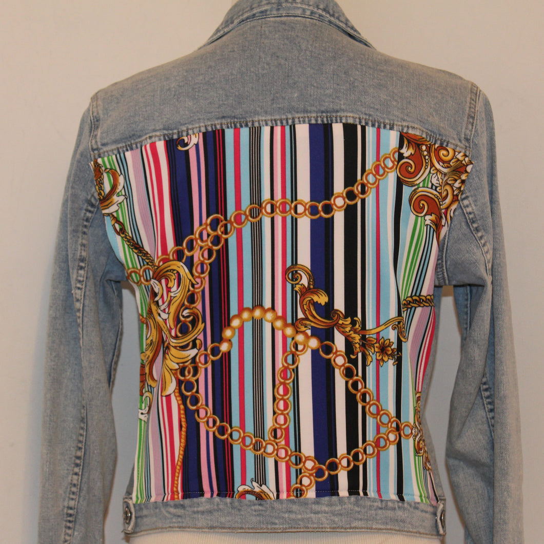 Light Blue Denim Jacket with Rainbow Scarf
