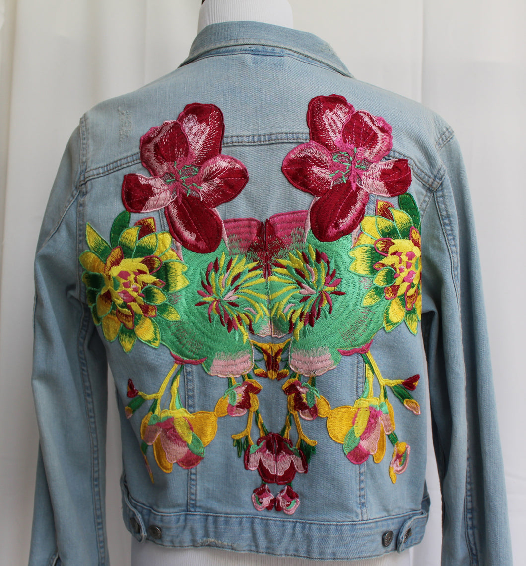 Custom Denim Light Wash Jacket with Floral Embroidery