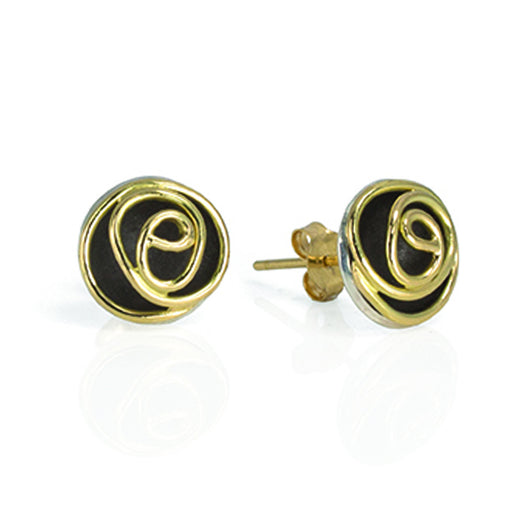 Rose Bud Studs (black and gold)