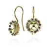 Gold and Blue Sapphire Lace Flower Earrings