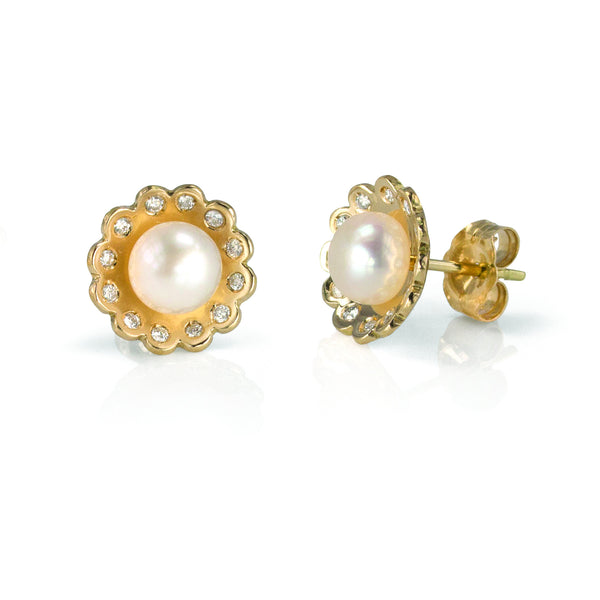 Gold, Diamond and Pearl Lace Flower Stud Earrings