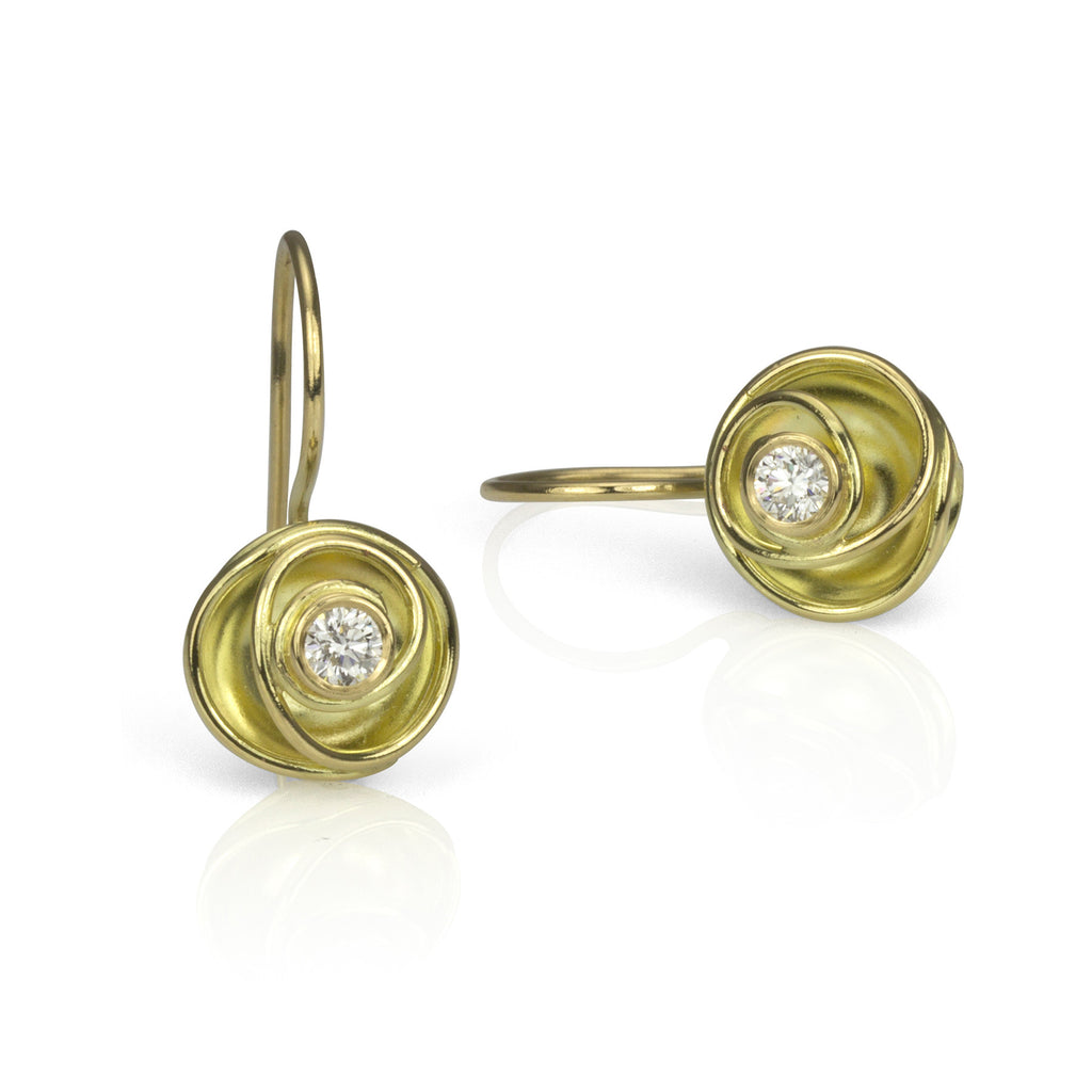 Gold and Diamond Rose Bud Earrings