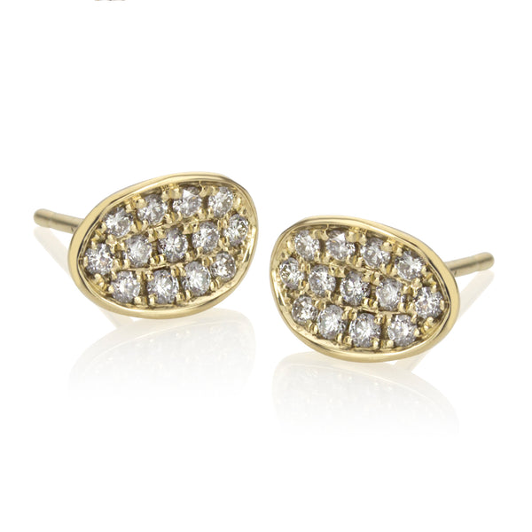 18K Gold and Diamond Oval Studs