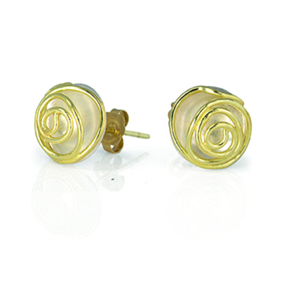 Rose Bud Studs (silver and 18K gold)