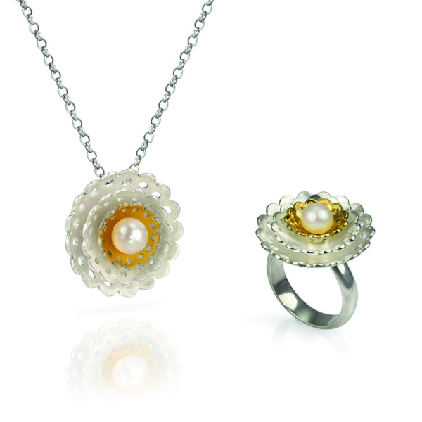 Lotus Flower Necklace and Ring