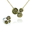 Rose Cluster Necklace and Ring (black and gold)