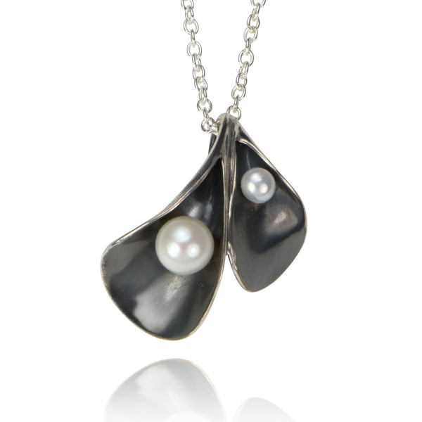 Calla Lily Necklace in oxidized silver and pearls