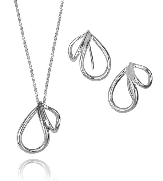 Two Petal Sterling Silver Necklace and Earrings