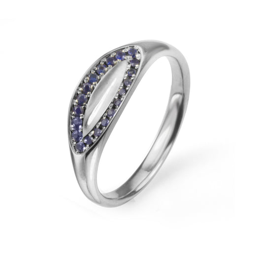14K white gold ring with pave set blue sapphires
