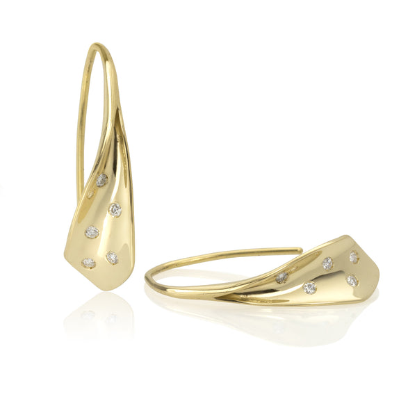 18K Gold and Diamond Flourish Earrings (small)