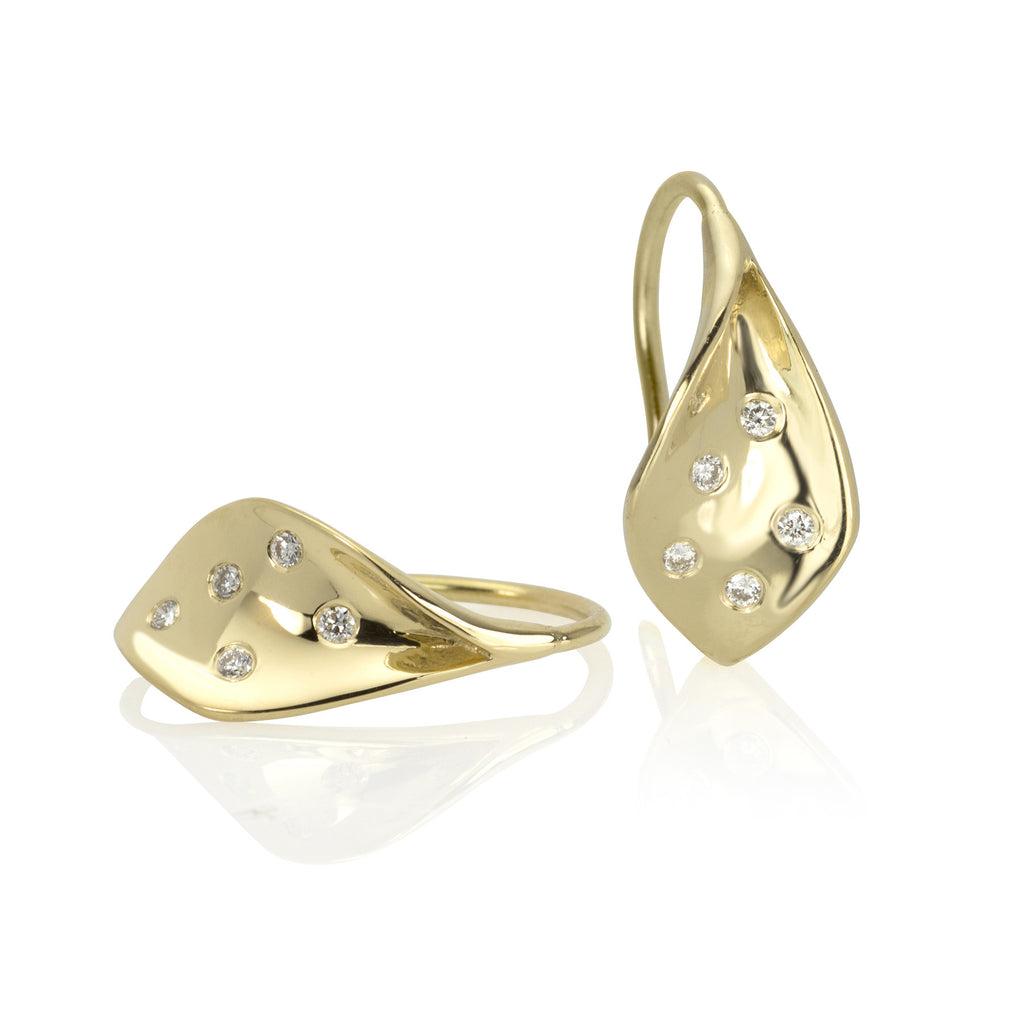 18K Gold and Diamond Flourish Earrings (X small)