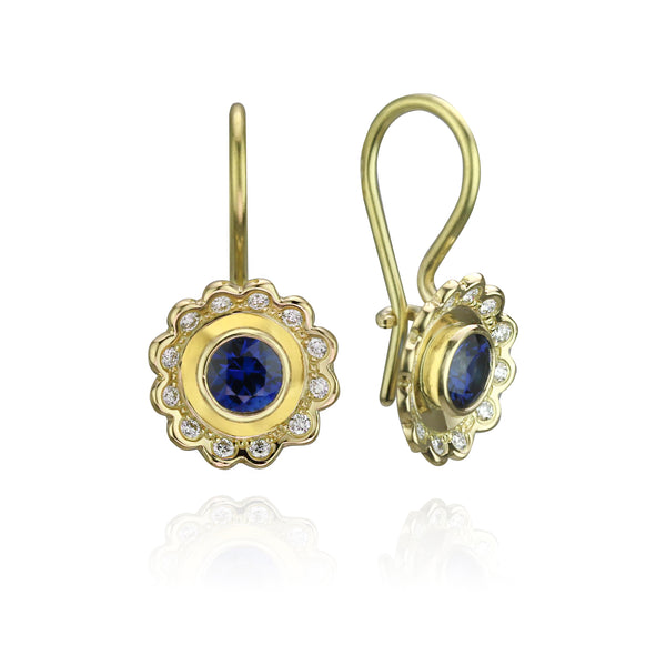 Lace Flower Earrings with Blue Sapphires and Diamonds