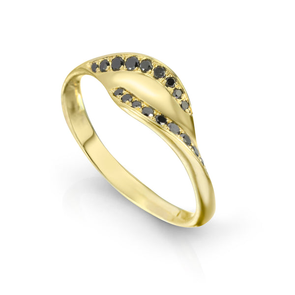 18K Gold and Black Diamond Ring