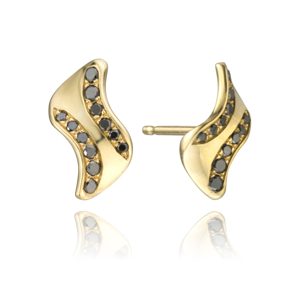 18K Gold and Black Diamond Studs