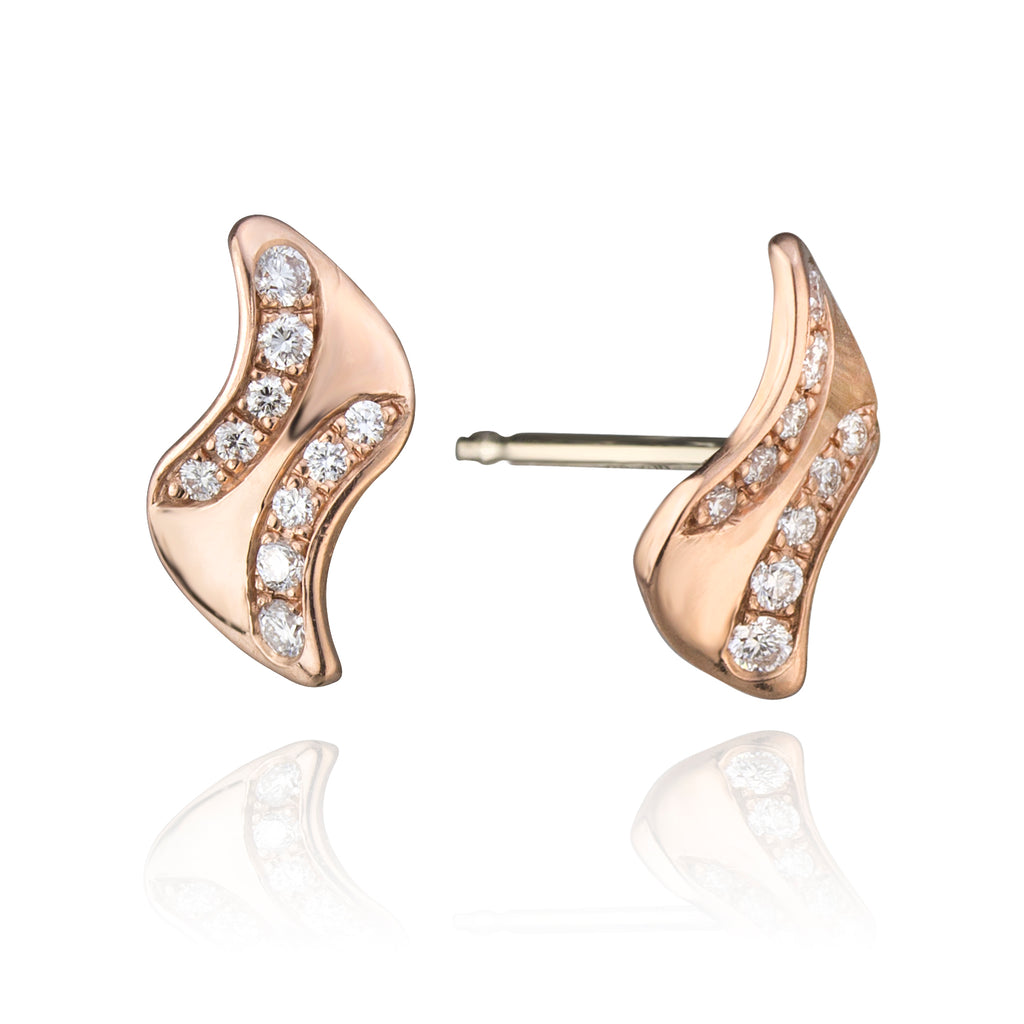 14K Rose Gold and Diamond Studs
