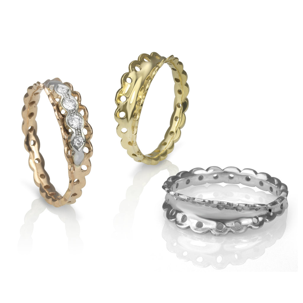 Gold and diamond Lace Edge Rings
