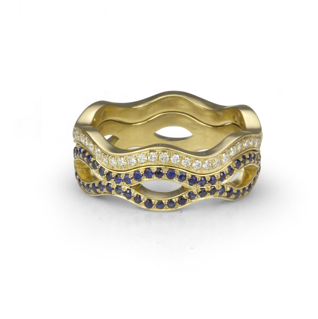 Gold Diamond and Sapphire Nestling Rings