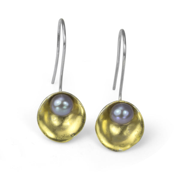 Gold Plated Oyster Earrings with Pearls