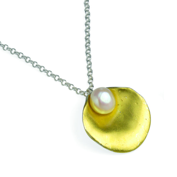 Gold Plated Silver Oyster Necklace with Pearl