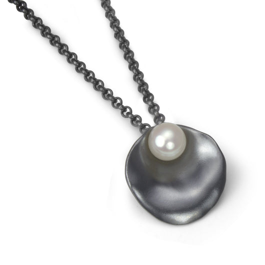 Oxidized Silver Oyster Necklace with Pearl