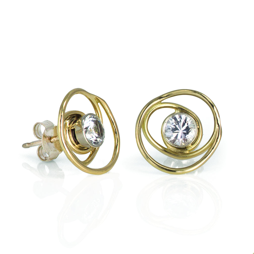 Open Gold and White Sapphire Rose Bud Earring Studs