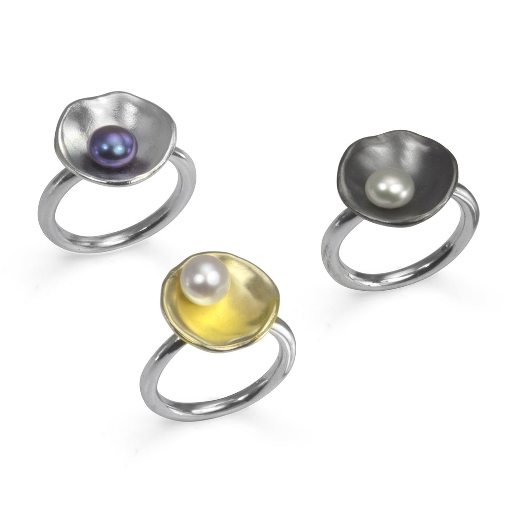 Sterling Silver and Pearl Oyster Rings