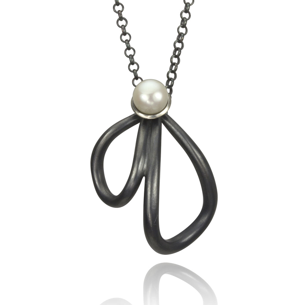 Petal and Pearl Oxidized Silver Necklace