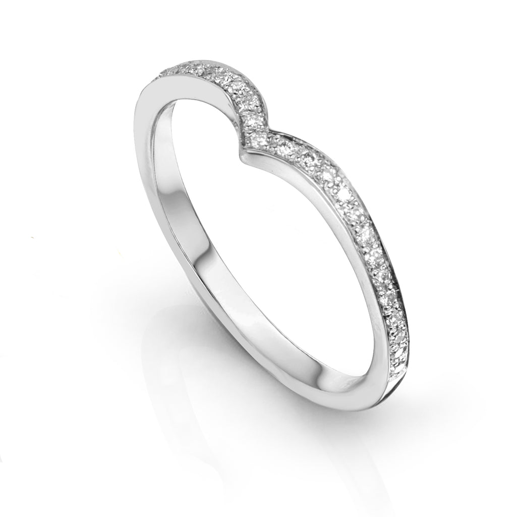 Point Ring with pave set diamonds