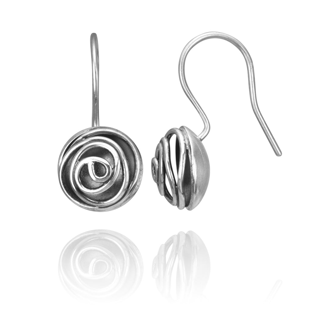 Rose Bud Earrings, oxidized sterling silver