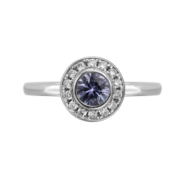 Lavender Sapphire Ring with Halo