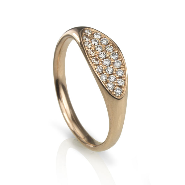 14K rose gold ring with pave set diamonds