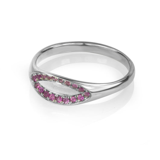 14K white gold ring with pave set pink sapphires