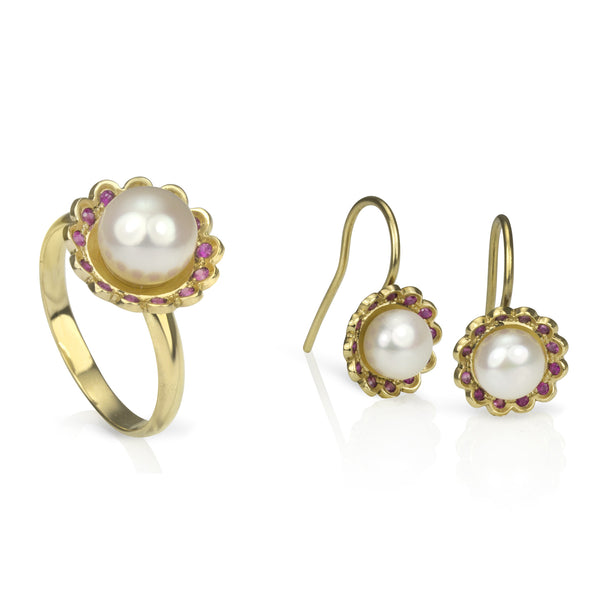 Gold, Pink Sapphire and Pearl Lace Flower Ring and Earrings